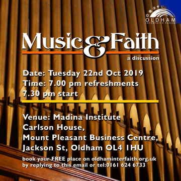 Poster for Music and Faith discussion