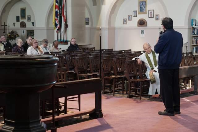 Fazal Rahim speaking to congregation of St Anne'sRoon