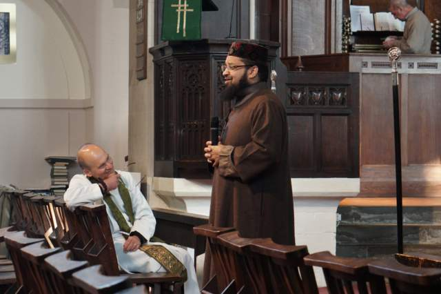 Mufti Helal speaking to congregation of St Anne's Royton