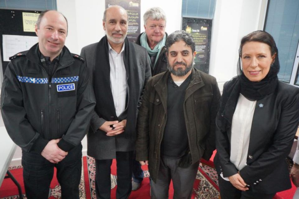Group photo with Debbie Abrahams MP at the Oldham Mosques Council meeting to show solidarity with London